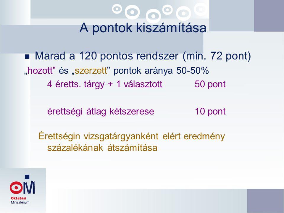 A pontok kiszámítása Marad a 120 pontos rendszer (min. 72 pont)