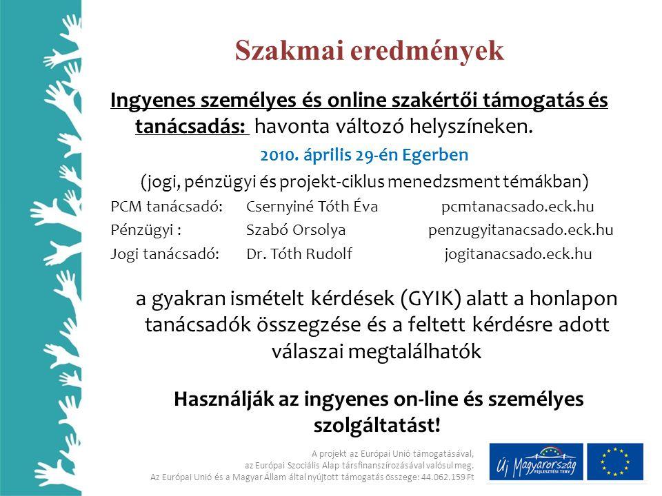 Szakmai eredmények Ingyenes személyes és online szakértői támogatás és tanácsadás: havonta változó helyszíneken.