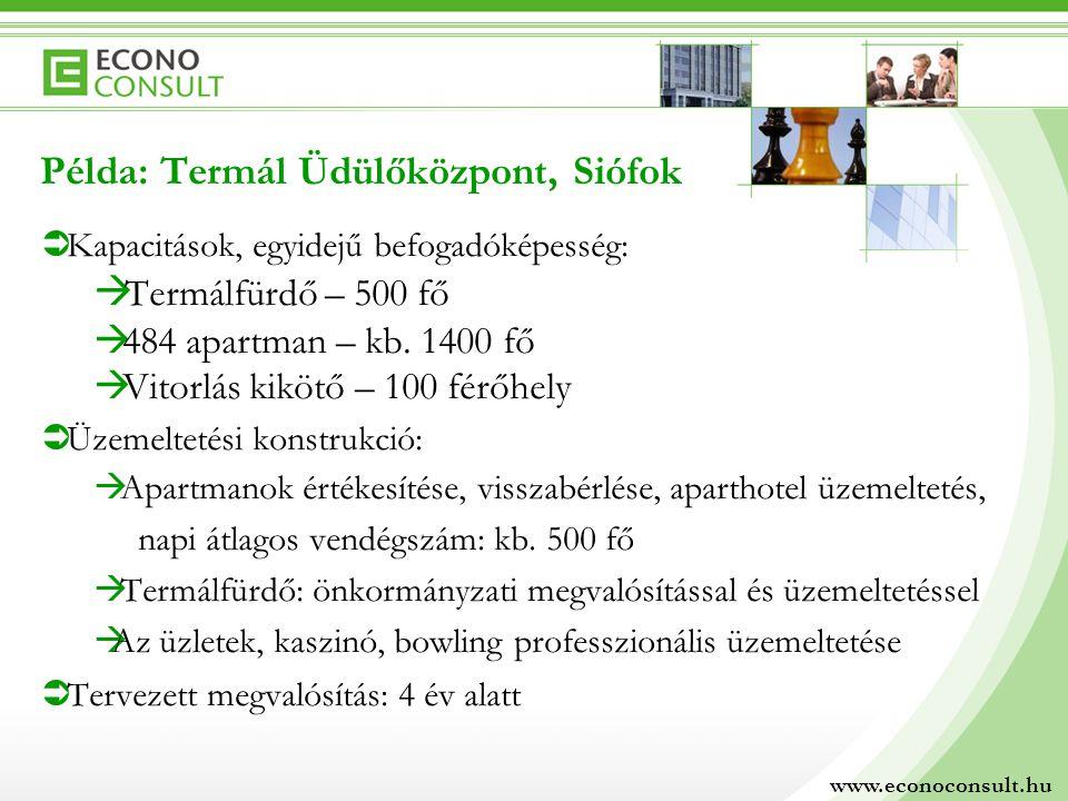 Példa: Termál Üdülőközpont, Siófok Termálfürdő – 500 fő