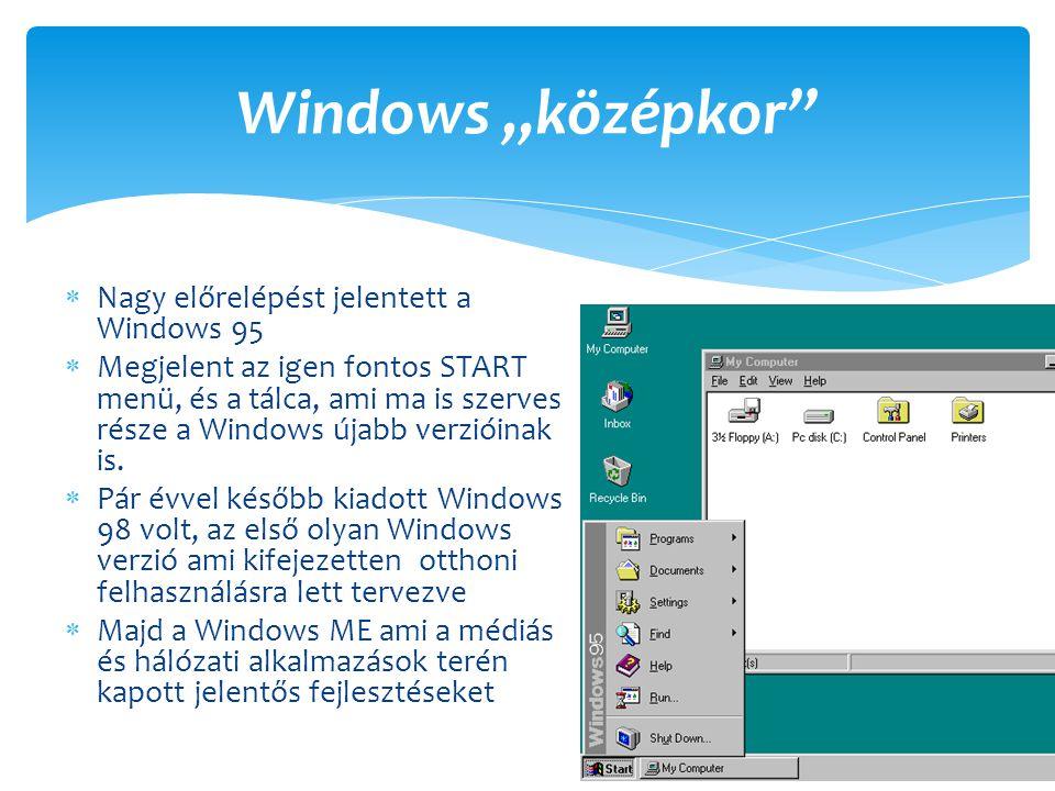 """Windows """"középkor Nagy előrelépést jelentett a Windows 95"""