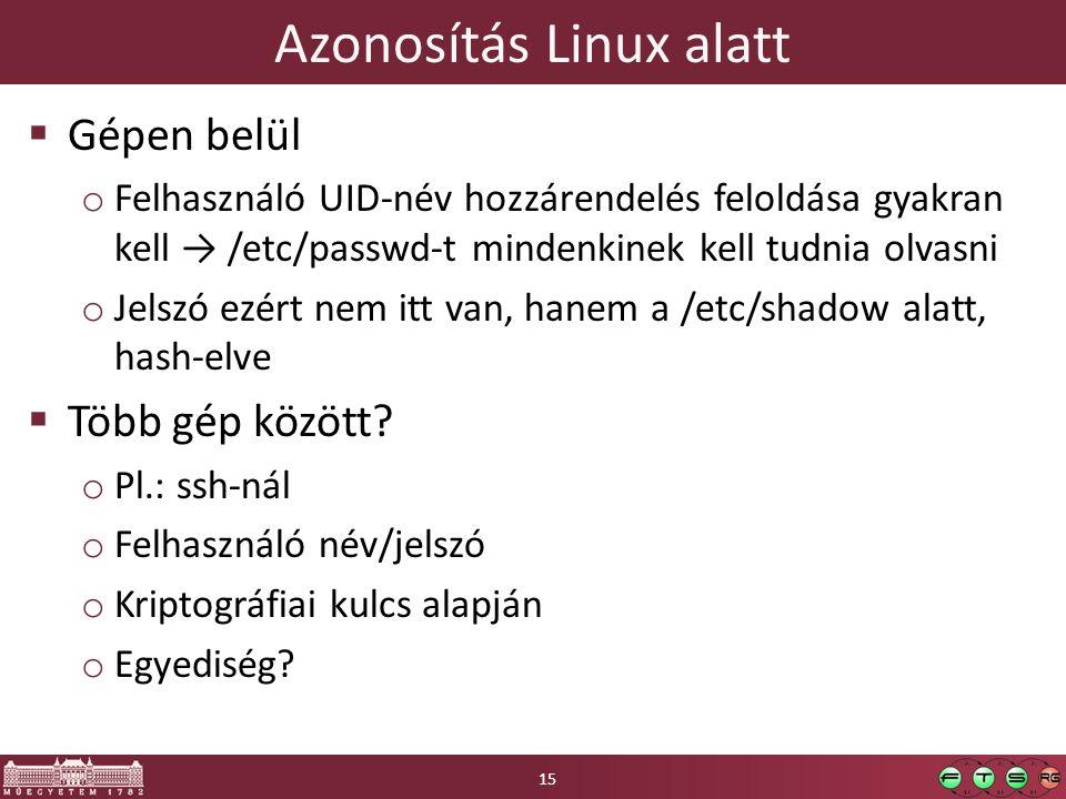 Azonosítás Linux alatt