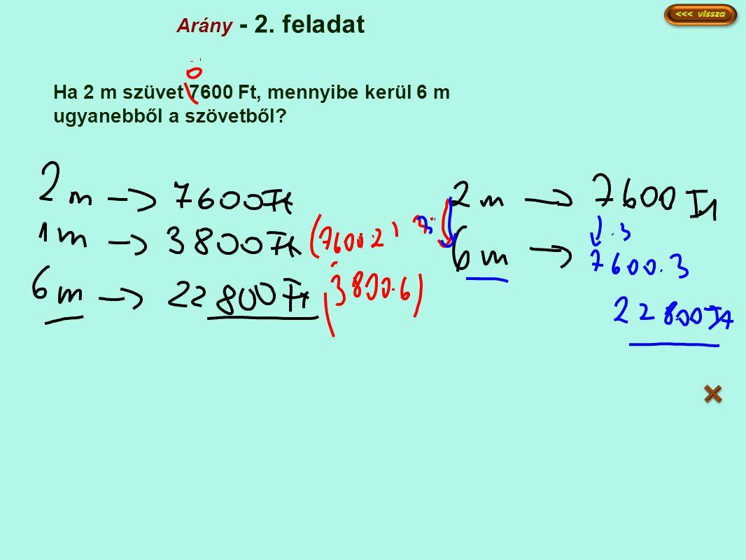 Arány - 2. feladat Ha 2 m szüvet 7600 Ft, mennyibe kerül 6 m ugyanebből a szövetből