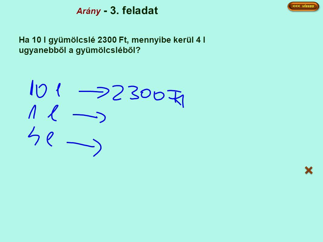 Arány - 3. feladat Ha 10 l gyümölcslé 2300 Ft, mennyibe kerül 4 l ugyanebből a gyümölcsléből