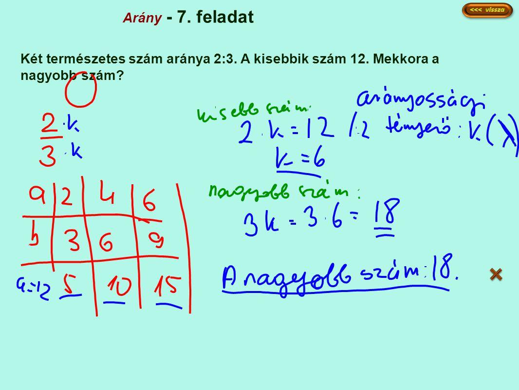 Arány - 7. feladat Két természetes szám aránya 2:3. A kisebbik szám 12. Mekkora a nagyobb szám