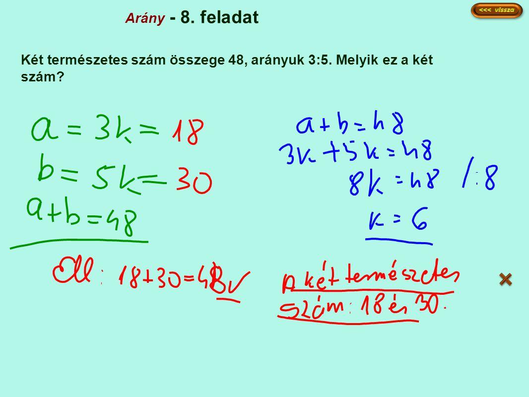 Arány - 8. feladat Két természetes szám összege 48, arányuk 3:5. Melyik ez a két szám