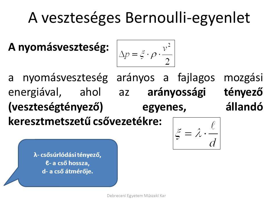 A veszteséges Bernoulli-egyenlet