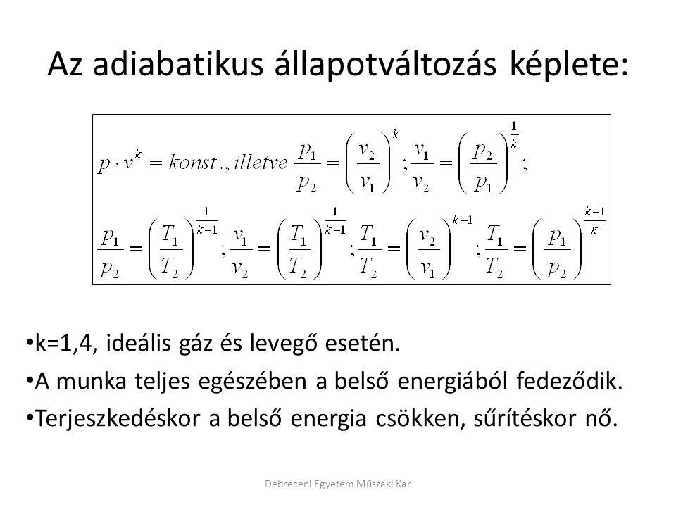Az adiabatikus állapotváltozás képlete: