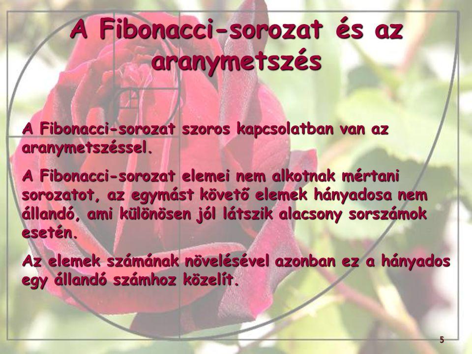 A Fibonacci-sorozat és az aranymetszés