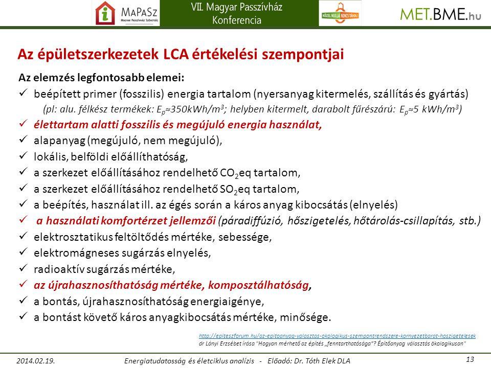 Az épületszerkezetek LCA értékelési szempontjai