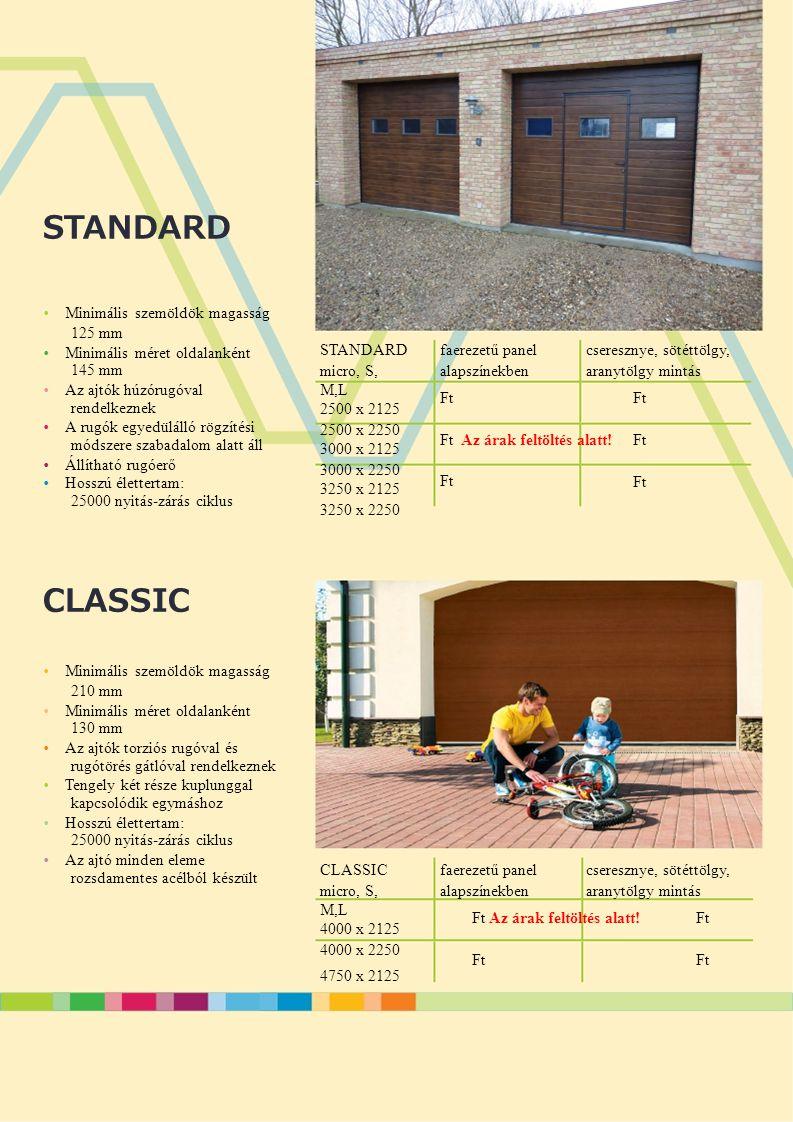 STANDARD CLASSIC 125 mm 145 mm rendelkeznek