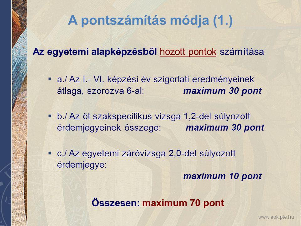 A pontszámítás módja (1.)