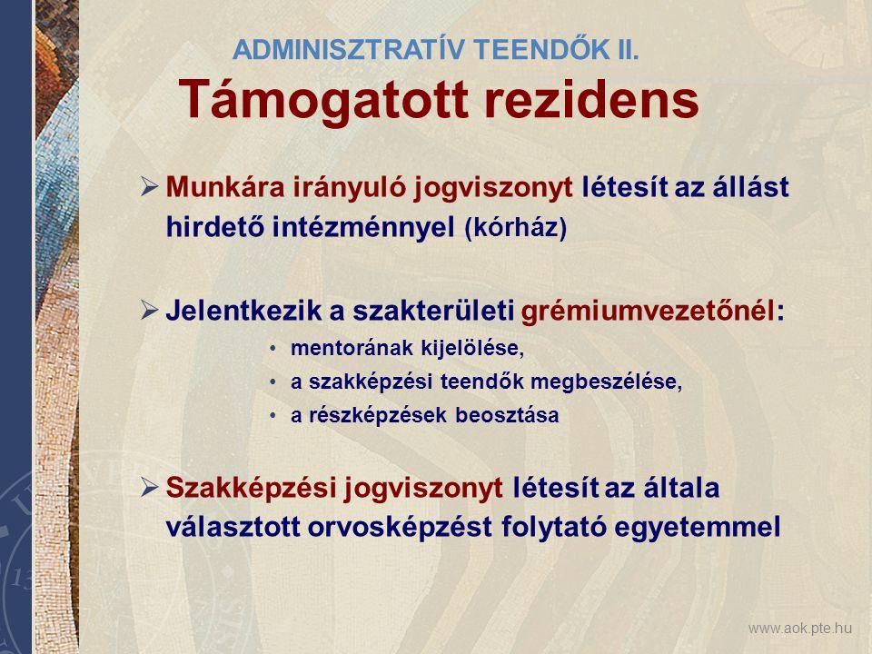 ADMINISZTRATÍV TEENDŐK II. Támogatott rezidens