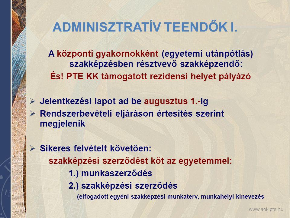 ADMINISZTRATÍV TEENDŐK I.