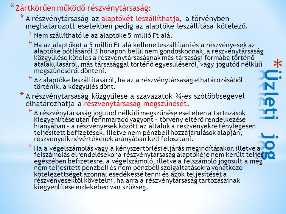 Üzleti jog Zártkörűen működő részvénytársaság: