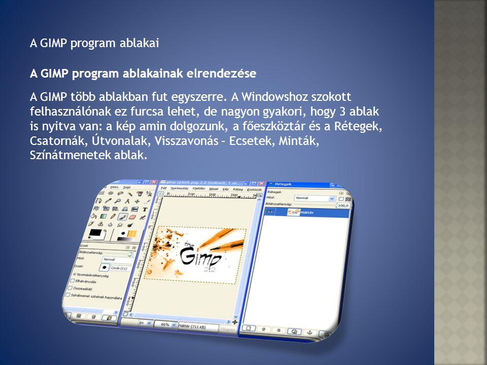 A GIMP program ablakai A GIMP program ablakainak elrendezése.
