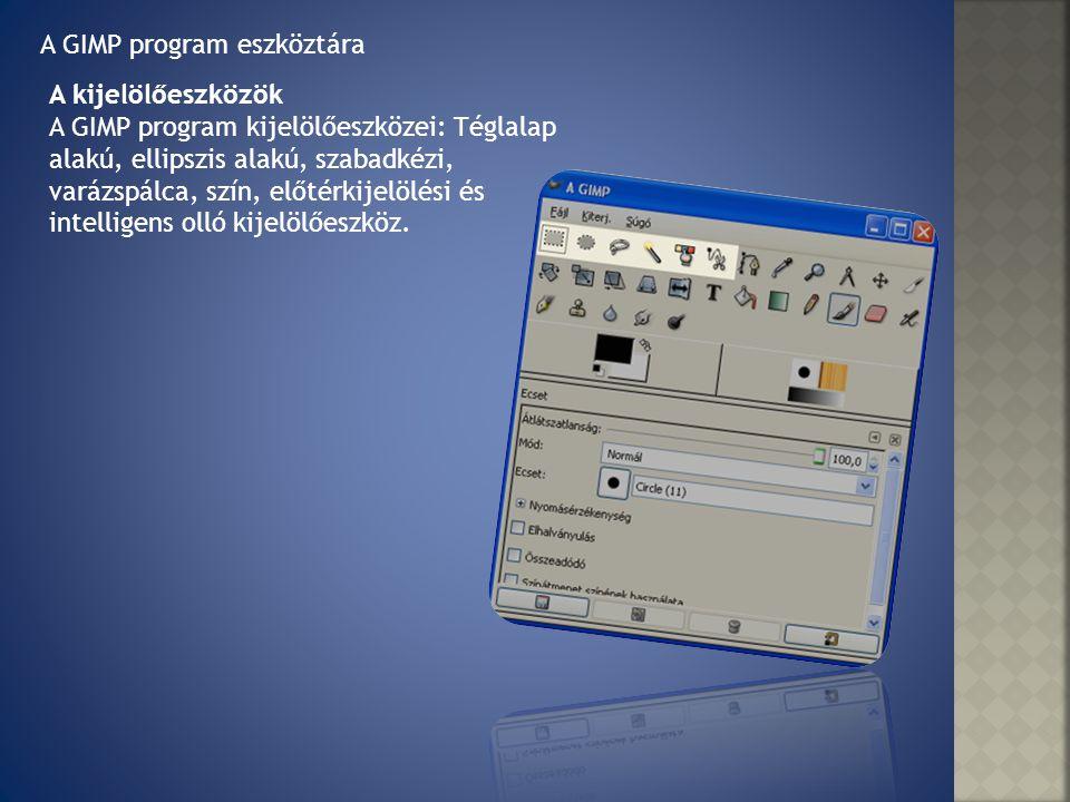 A GIMP program eszköztára