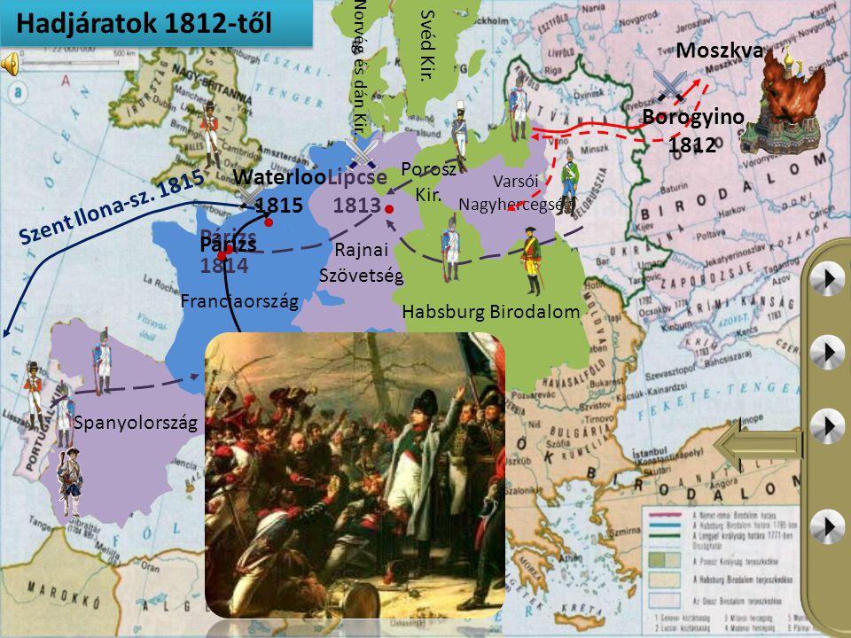 Hadjáratok 1812-től Moszkva Borogyino 1812 Lipcse 1813 Waterloo 1815
