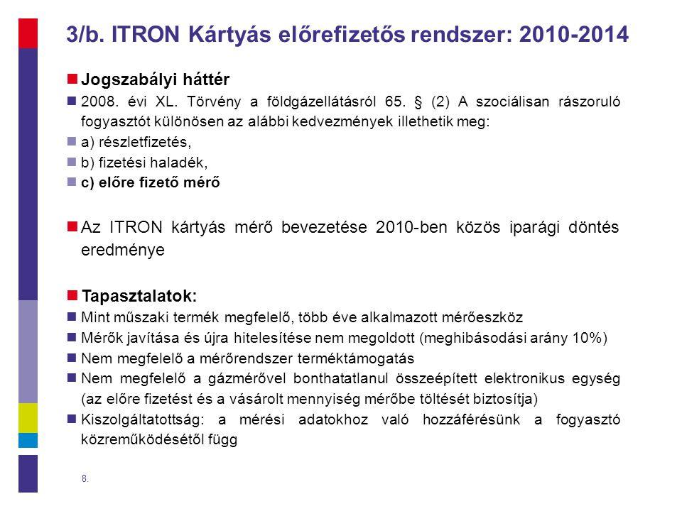 3/b. ITRON Kártyás előrefizetős rendszer: 2010-2014
