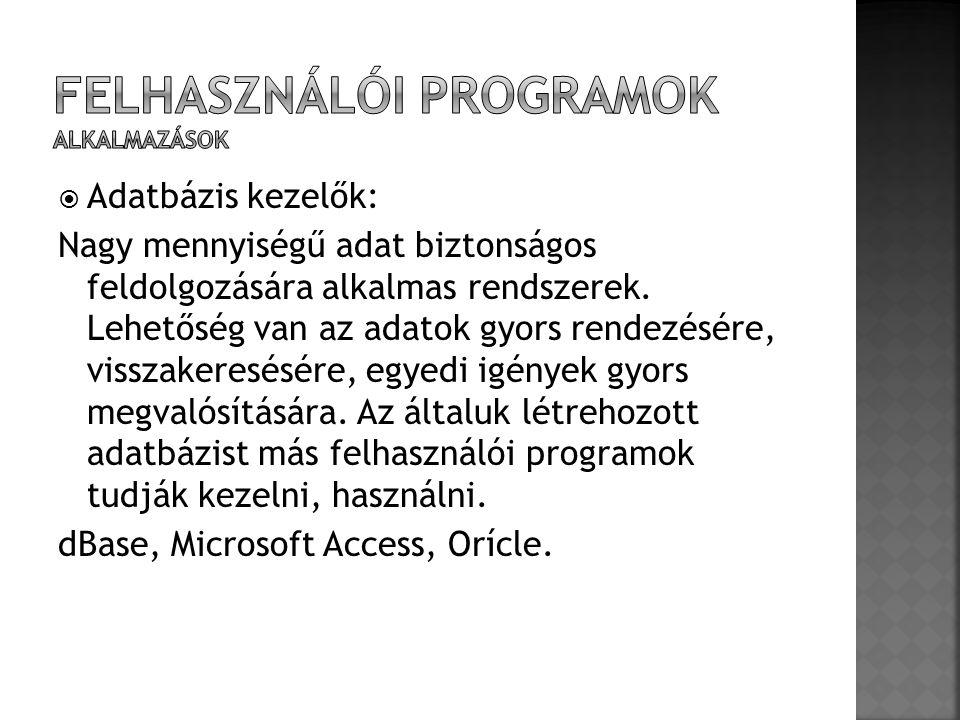 Felhasználói programok Alkalmazások