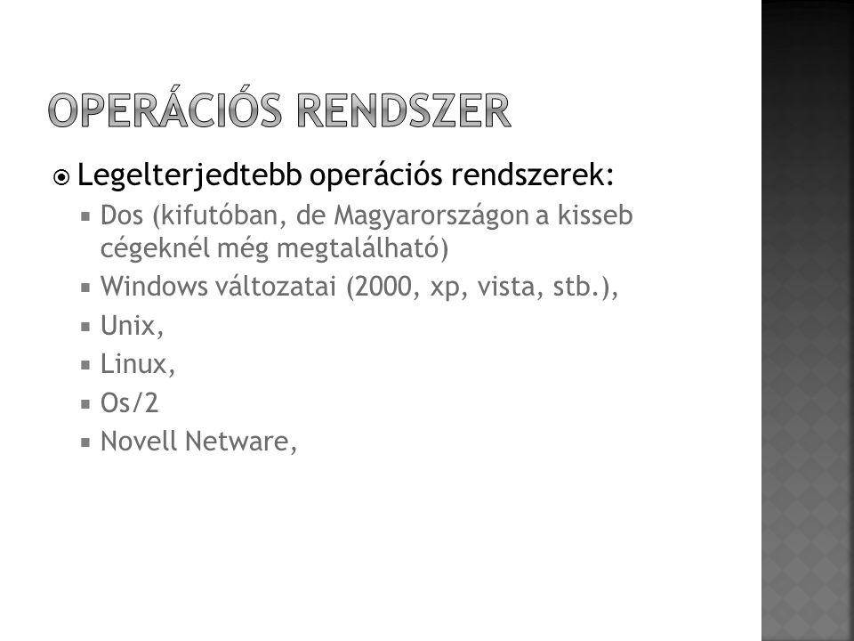 Operációs rendszer Legelterjedtebb operációs rendszerek: