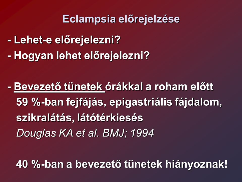 Eclampsia előrejelzése
