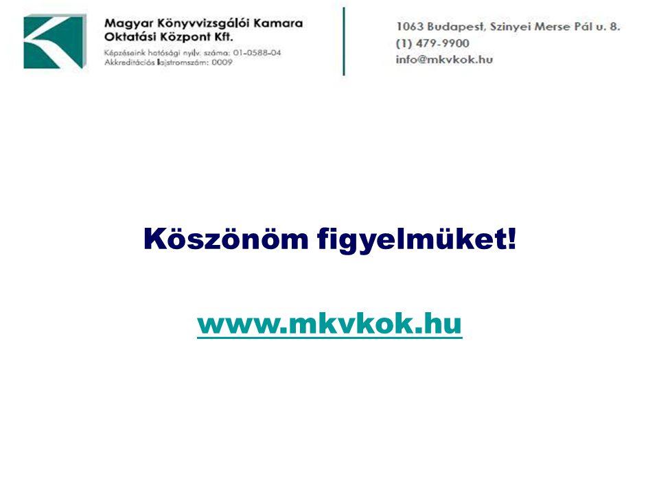 Köszönöm figyelmüket! www.mkvkok.hu