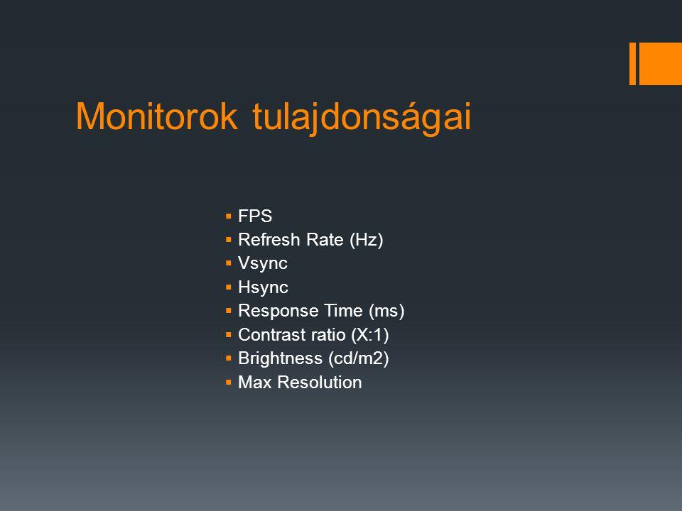 Monitorok tulajdonságai
