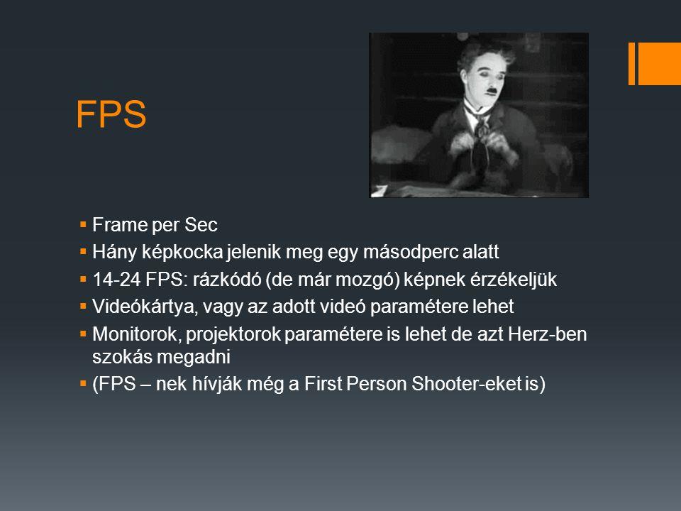 FPS Frame per Sec Hány képkocka jelenik meg egy másodperc alatt