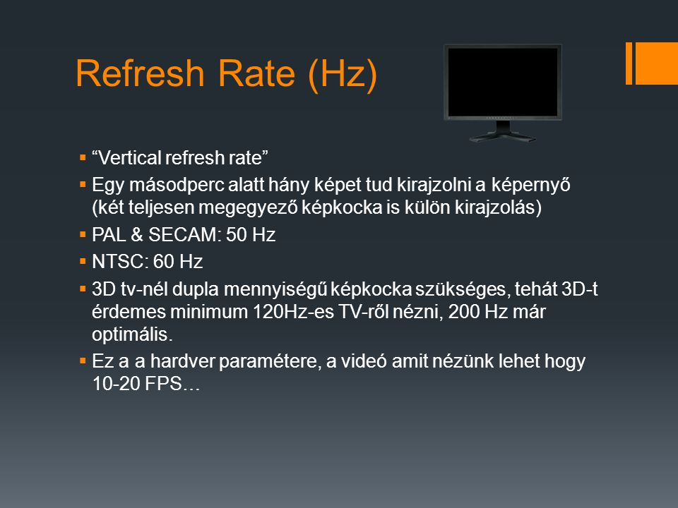 Refresh Rate (Hz) Vertical refresh rate