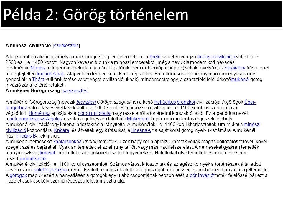 Példa 2: Görög történelem