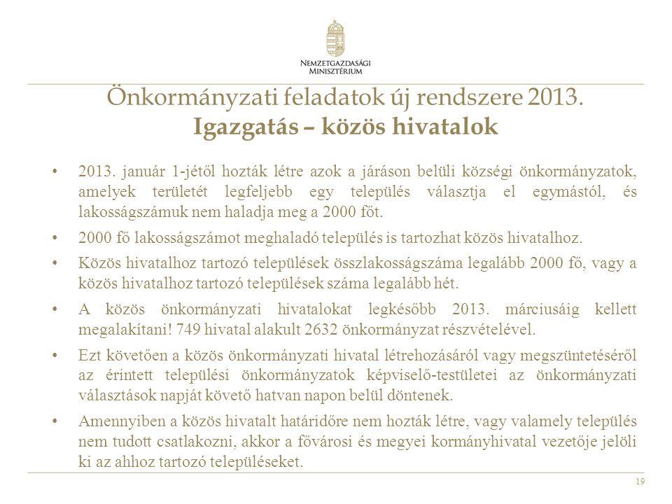 Önkormányzati feladatok új rendszere 2013. Igazgatás – közös hivatalok