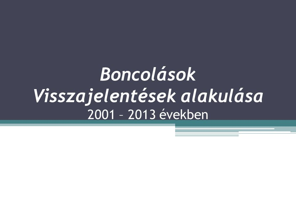 Boncolások Visszajelentések alakulása 2001 – 2013 években