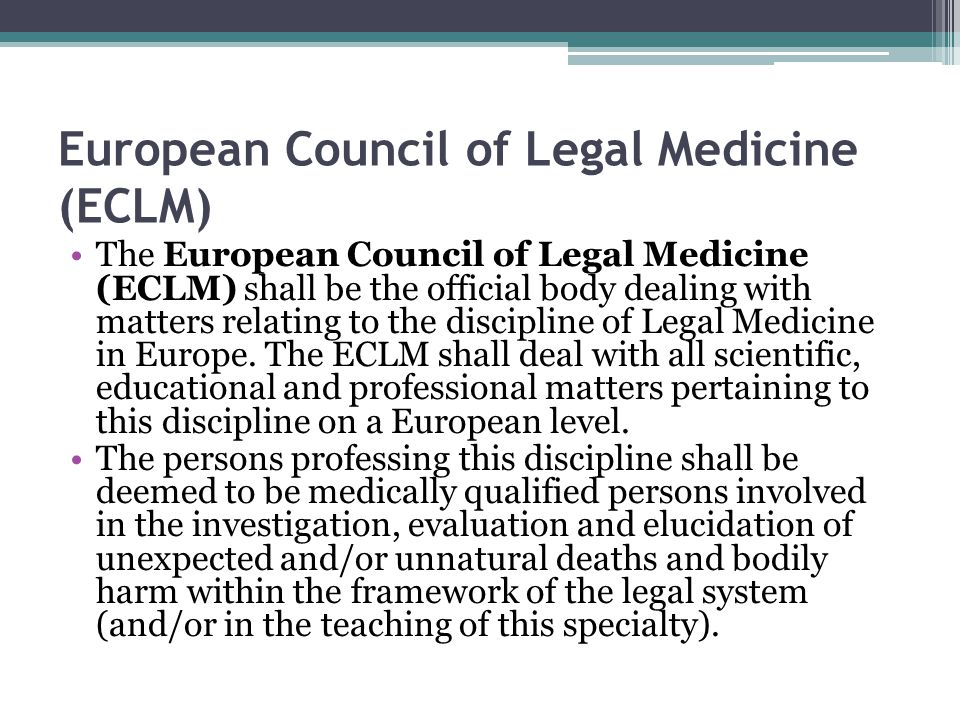 European Council of Legal Medicine (ECLM)