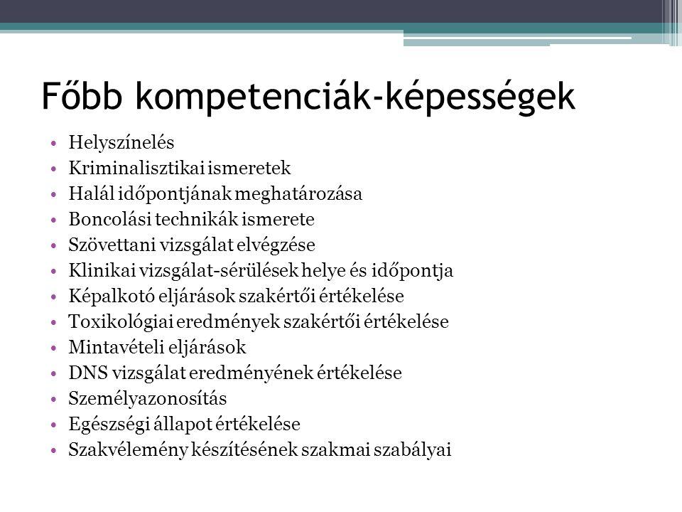 Főbb kompetenciák-képességek