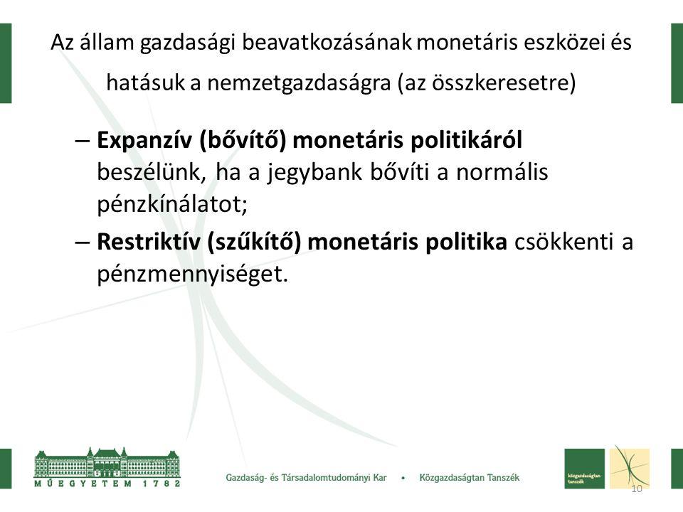 Restriktív (szűkítő) monetáris politika csökkenti a pénzmennyiséget.