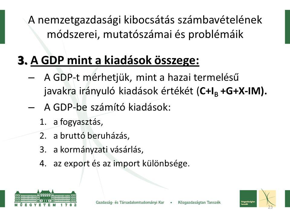 3. A GDP mint a kiadások összege: