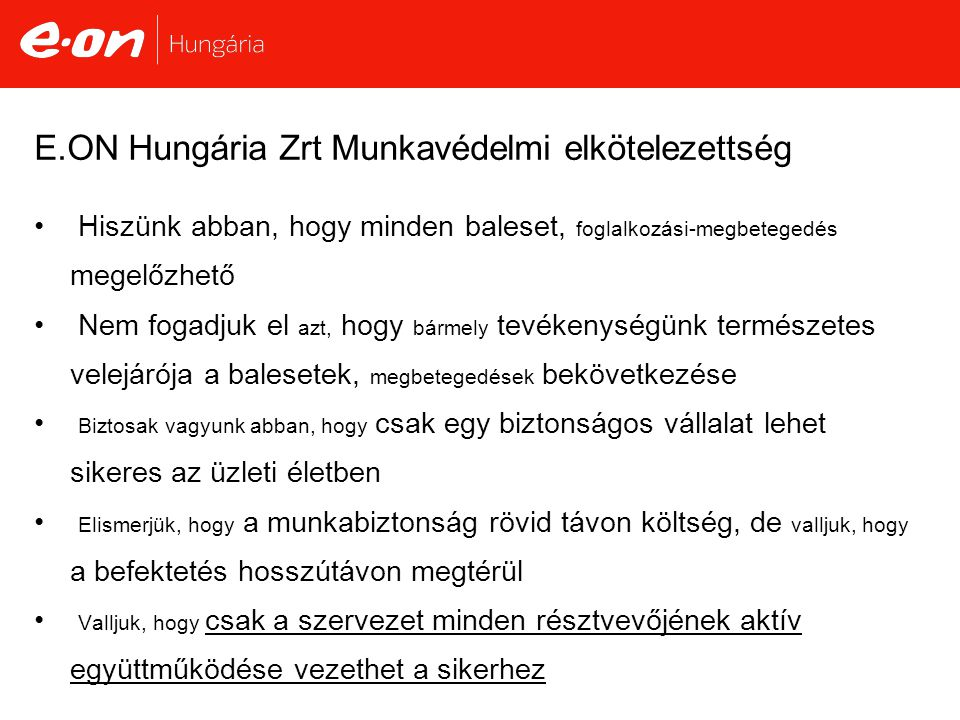 E.ON Hungária Zrt Munkavédelmi elkötelezettség