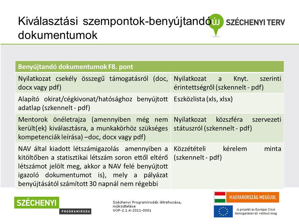 Kiválasztási szempontok-benyújtandó dokumentumok