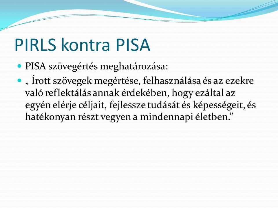 PIRLS kontra PISA PISA szövegértés meghatározása: