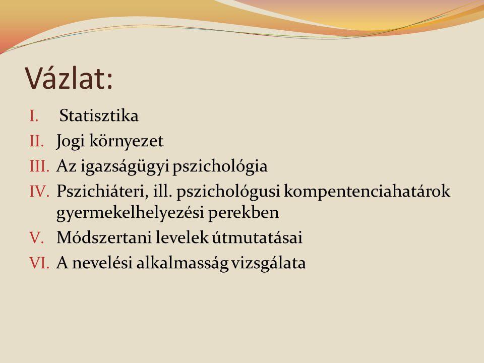 Vázlat: Statisztika Jogi környezet Az igazságügyi pszichológia