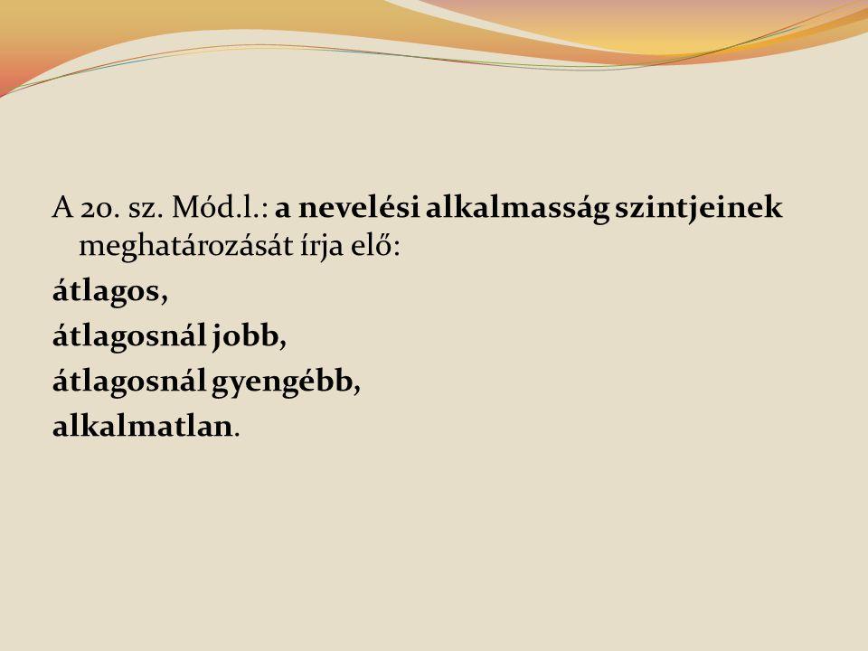 A 20. sz. Mód.l.: a nevelési alkalmasság szintjeinek meghatározását írja elő: