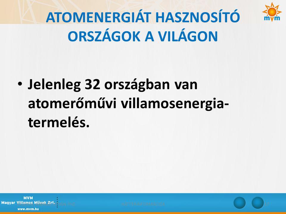 ATOMENERGIÁT HASZNOSÍTÓ ORSZÁGOK A VILÁGON