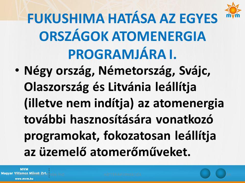 FUKUSHIMA HATÁSA AZ EGYES ORSZÁGOK ATOMENERGIA PROGRAMJÁRA I.