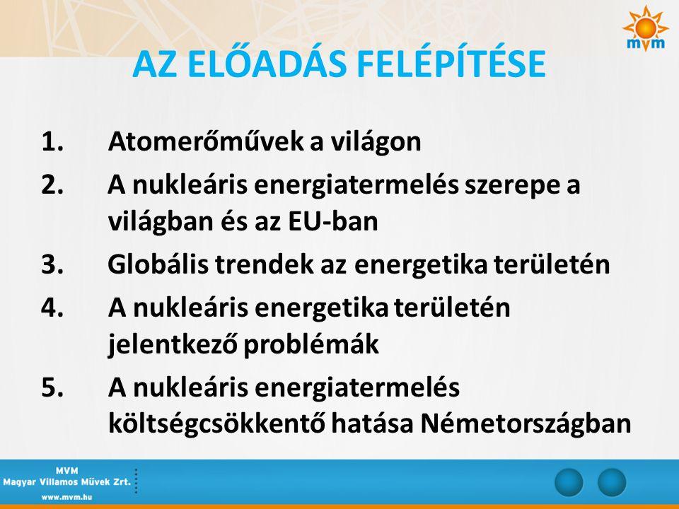 AZ ELŐADÁS FELÉPÍTÉSE 1. Atomerőművek a világon