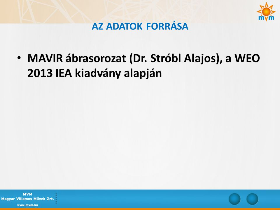 MAVIR ábrasorozat (Dr. Stróbl Alajos), a WEO 2013 IEA kiadvány alapján