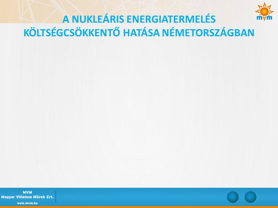 A NUKLEÁRIS ENERGIATERMELÉS KÖLTSÉGCSÖKKENTŐ HATÁSA NÉMETORSZÁGBAN