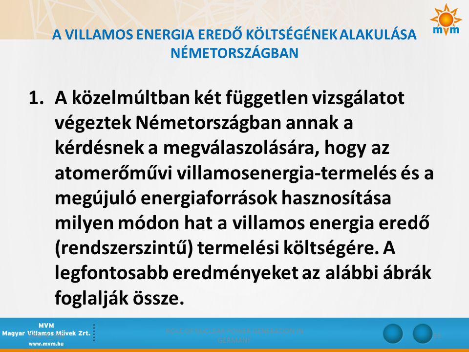 A VILLAMOS ENERGIA EREDŐ KÖLTSÉGÉNEK ALAKULÁSA NÉMETORSZÁGBAN