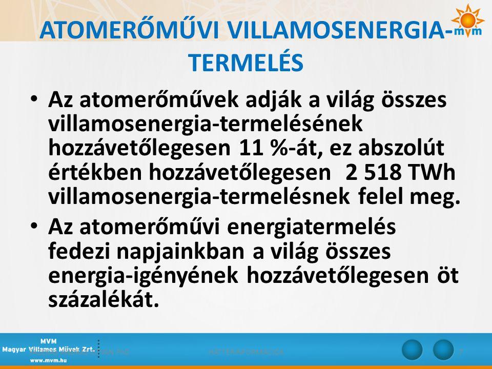 ATOMERŐMŰVI VILLAMOSENERGIA-TERMELÉS