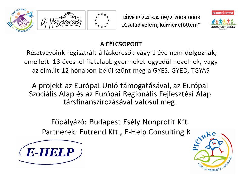 Főpályázó: Budapest Esély Nonprofit Kft.