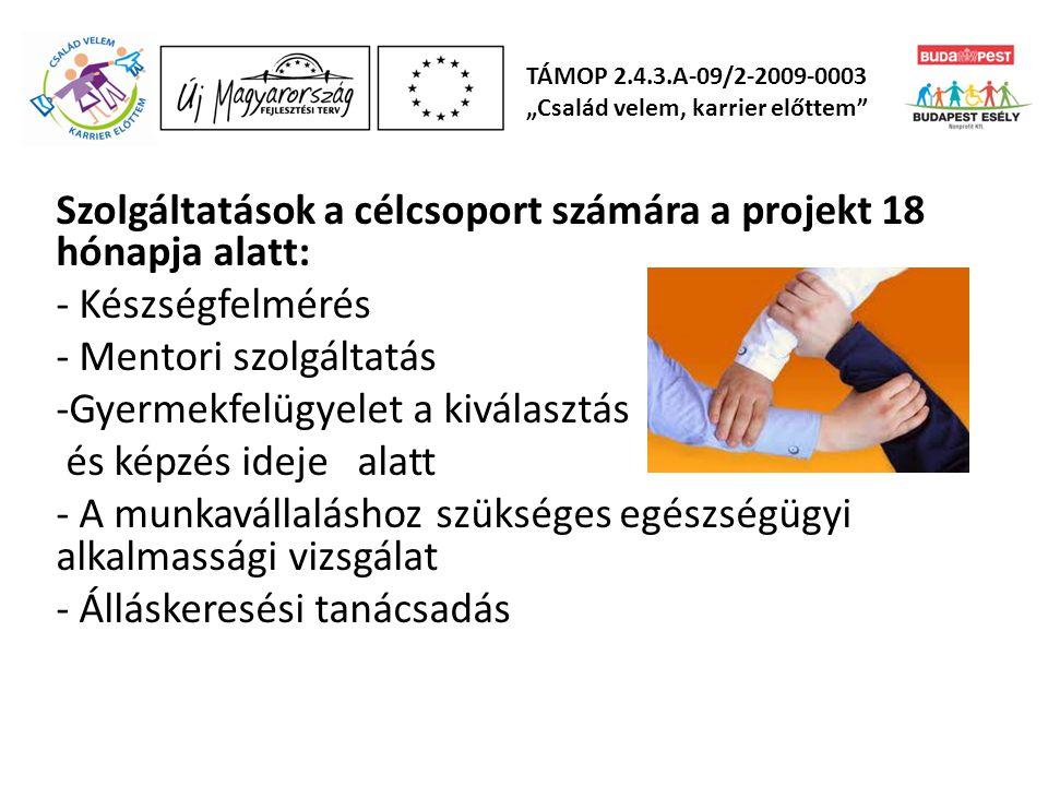 Szolgáltatások a célcsoport számára a projekt 18 hónapja alatt: